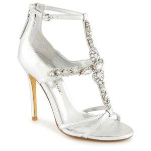 Kate Preston Lovely Silver Jeweled Heels Size 9